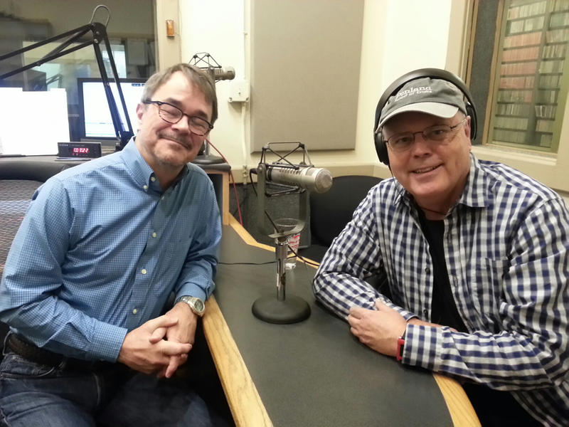 Music director Dick Kowal and David Holt in the WCQS studios.
