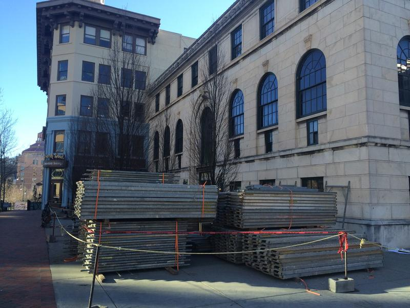 Construction materials outside the Asheville Art Museum Jan. 13, 2016