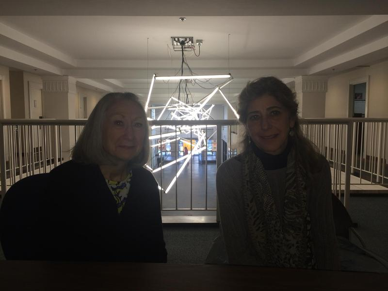 Lin Andrews, Board Chairman of the Asheville Art Museum with Pam Myers, Director of the Asheville Art Museum (on right)