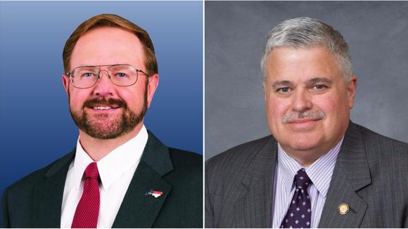 Sen. Chuck Edwards (left) and Sen. Tom Apodaca