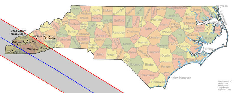 The red lines depict the path's border--areas that will experience roughly one minute of eclipse--whereas the blue middle line depicts the center, with a duration of about two-and-a-half minutes. The path will stretch across 43.6 miles of the region.