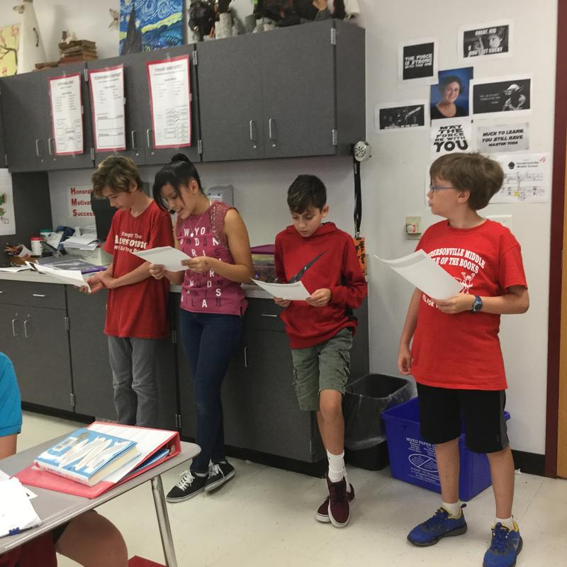 Hendersonville MS Students read a play about the Constitutional Debate as part of a lesson on Civil Discourse