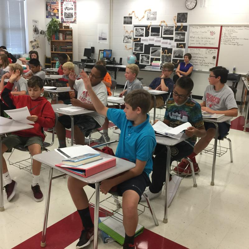 Hendersonville MS Students engage in a civil discourse discussion.