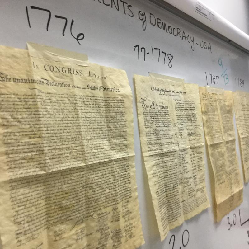 Constitutional Documents on the board in Teacher Kelly Deese's classroom