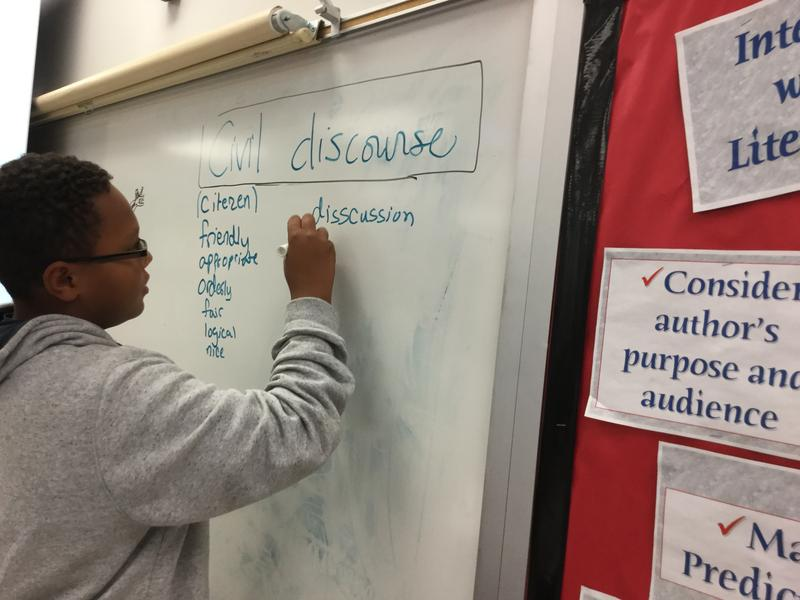 Lessons on Civil Discourse at Hendersonville Middle School.