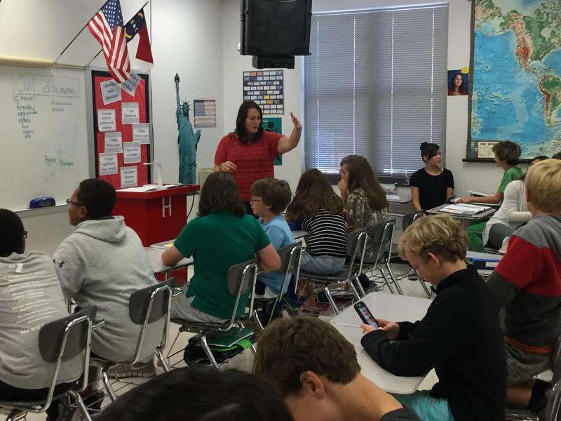 Teacher Kelly Deese discusses Election 2016 with Middle School students