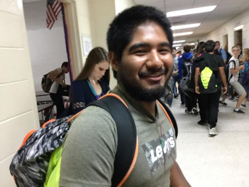 First time Voter Martin Padron, a senior at North Henderson High School.