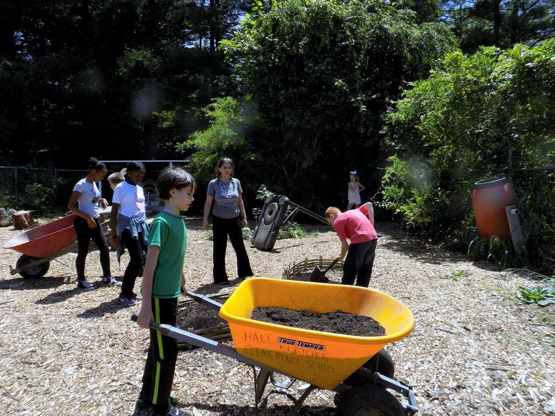 FEAST garden and cooking  educator Summer Whelden helps 5th graders at Hall Fletcher Elementary School haul garden soil.