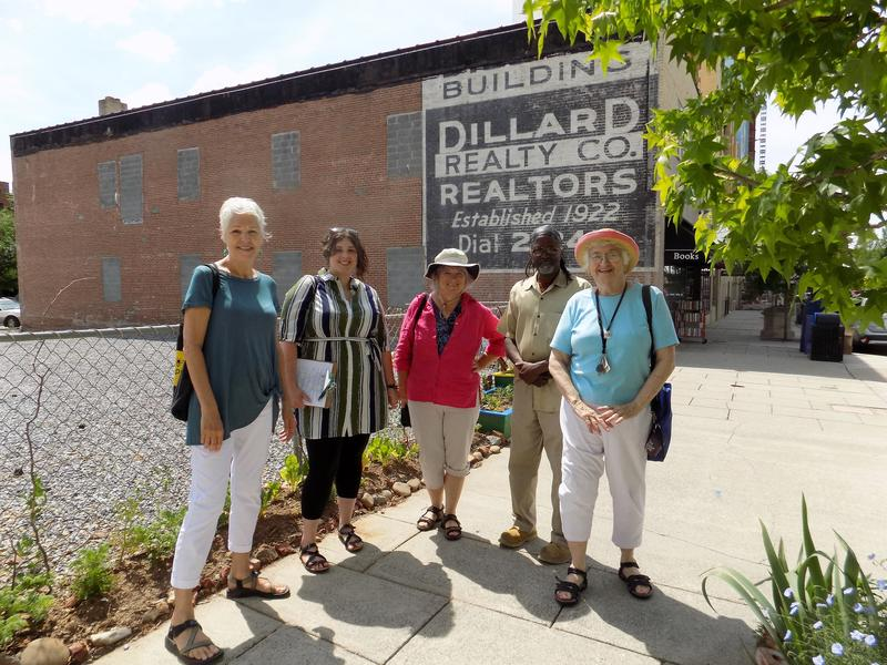Phyllis Stiles with Bee City USA, Haley Mahoney, Asheville's Office of Sustainability, Clare Hanrahan, with Elder & Sage: Uptown Asheville's Senior Gardeners, Melvin Smith, community gardener and Barbara Gravelle,Elder & Sage.