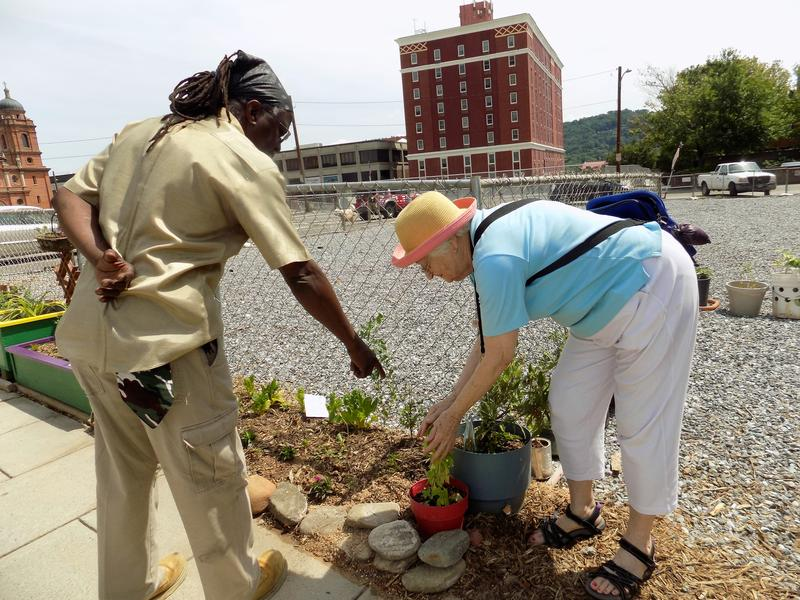 Neighbors and fellow gardeners Melvin Smith and Barbara Gravelle tend to flowers that line the fence along Page Avenue in downtown Asheville.