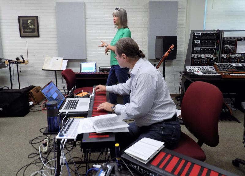 Grammy-wMusician and ContinuuCon organizer Sally Sparks with UNC Asheville Paddison Distinguished Professor of Music Wayne Kirby in the Bob Moog Electronic Music Studio on the UNCA campus.
