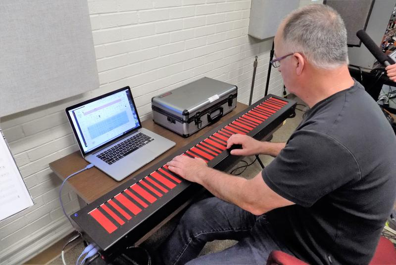 Sound Designer Edmund Eagan plays the Haken Continuum.