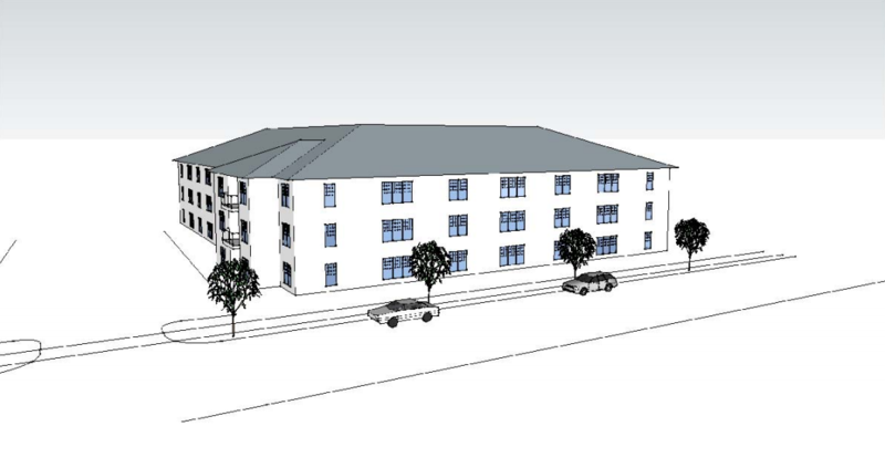 Drawing of proposed complex at 338 Hilliard Street