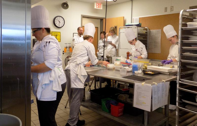 Culinary coaches watch closely as the A-B Tech Community College's Student Culinary Team practices for the  American Culinary Federation national competition July 9-13 in Orlando.