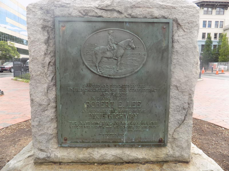 Marker in front of the Vance Monument with General Robert E. Lee