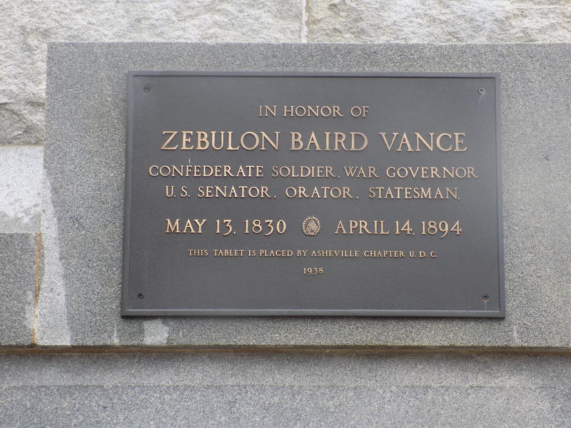 Plaque on Vance Monument
