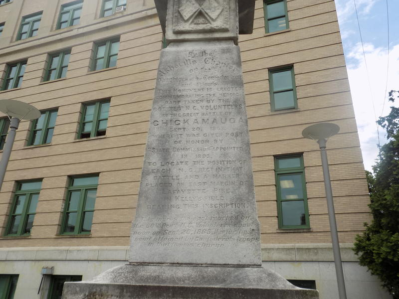 Monument to Confederate Soldiers outside the Buncombe County Courthouse