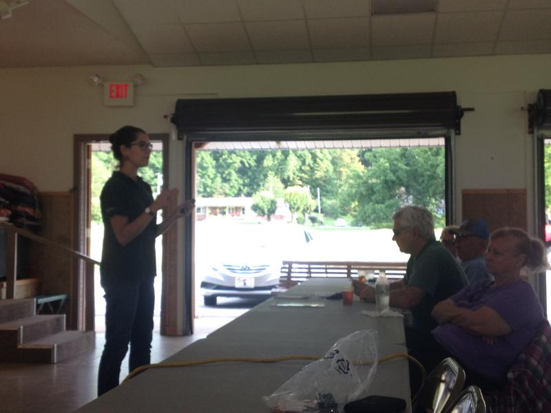 Laurel Kays meets with residents of Maggie Valley to discuss the advantages of the Firewise USA program.