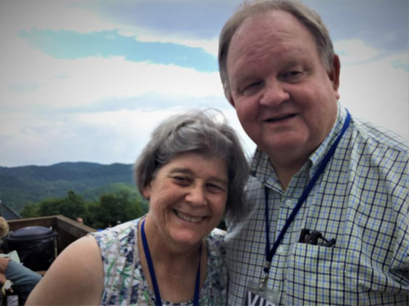 Henderson County Representative Chuck McGrady and his wife Jean watch the Eclipse at PARI.