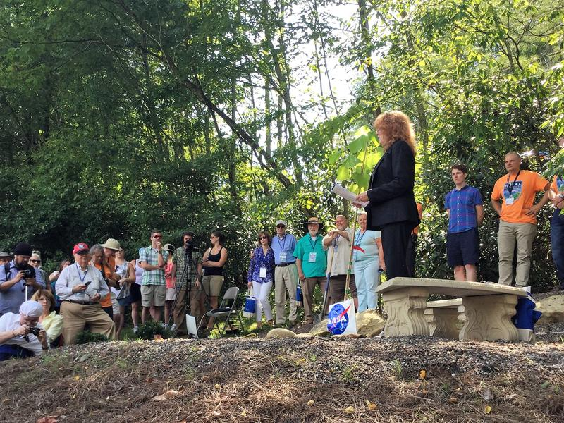 Rosemary Roosa talks to the crowd during the Moon Tree dedication.