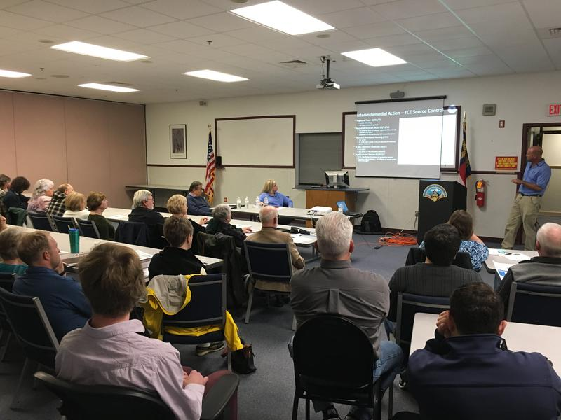 Craig Zeller of the EPA (blue shirt standing on far right) gives a presentation on the cleanup to residents at the Skyland Fire Department on November 30th