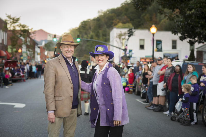 David & Susan Belcher march in this year's homecoming parade in Sylva