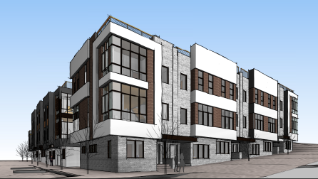 Drawings of McCormick Place townhomes, one of several projects where developers are seeking to city approval to have AirBnB-style lodgings