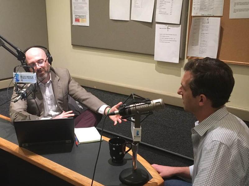 WUNC's Jeff Tiberii (left) and WCU political scientist Chris Cooper at BPR studios 12/4/17