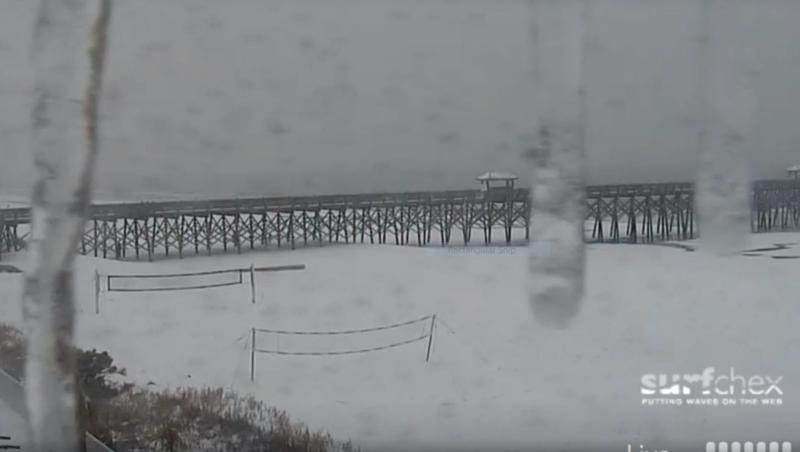 Snow on Folly Beach, NC