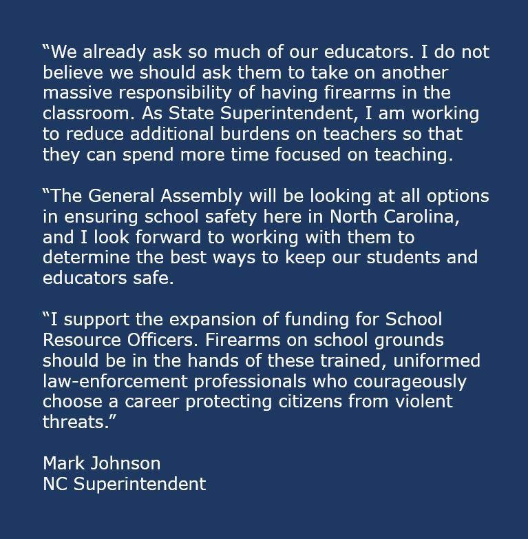 Statement posted on the superintendent's Facebook page