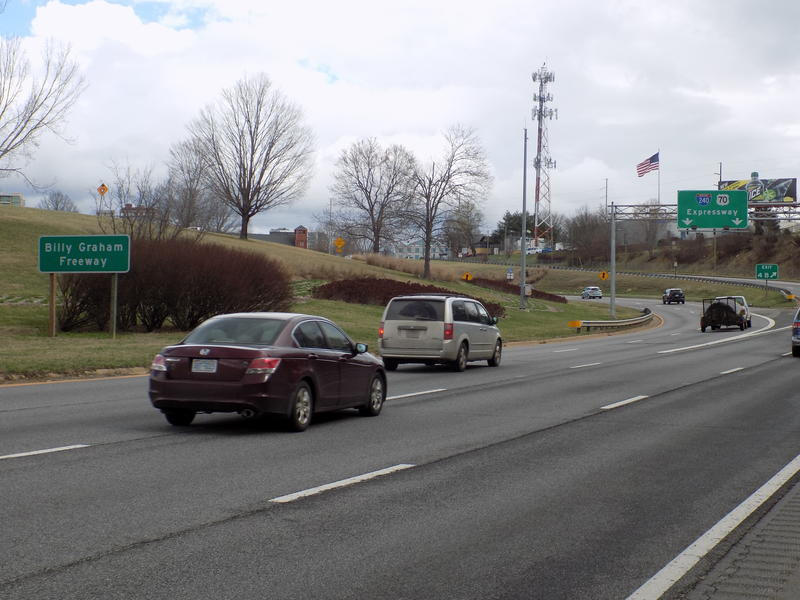 The Billy Graham Freeway, a portion of Interstate 240 that cuts through downtown Asheville