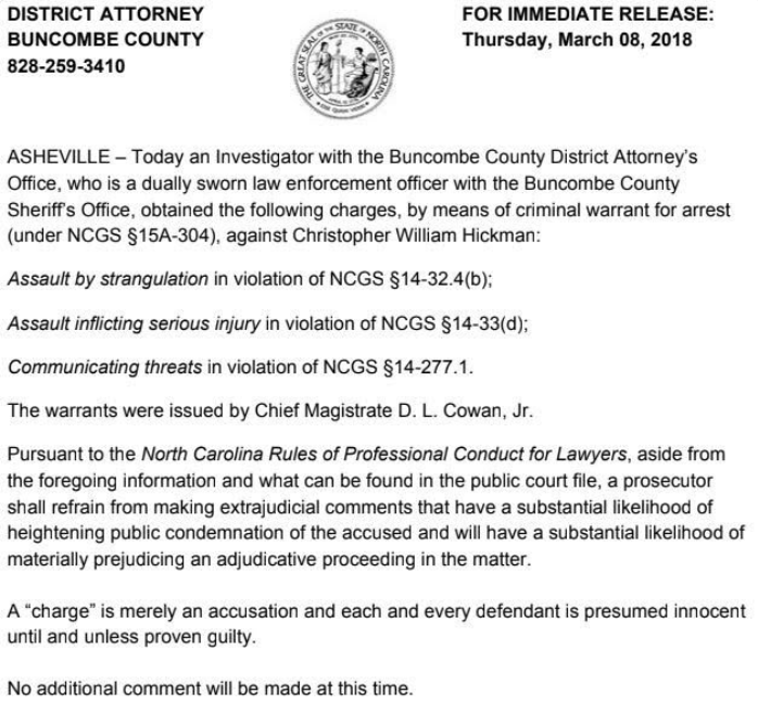 Release announcing criminal charges against former Asheville police officer Chris Hickman