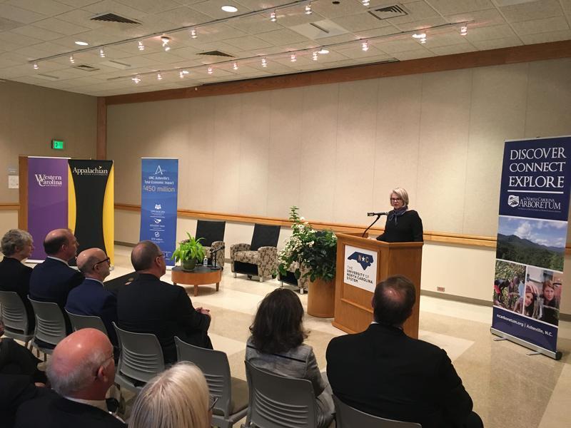 Margaret Spellings (podium) speaks at the North Carolina Aroboretum Friday
