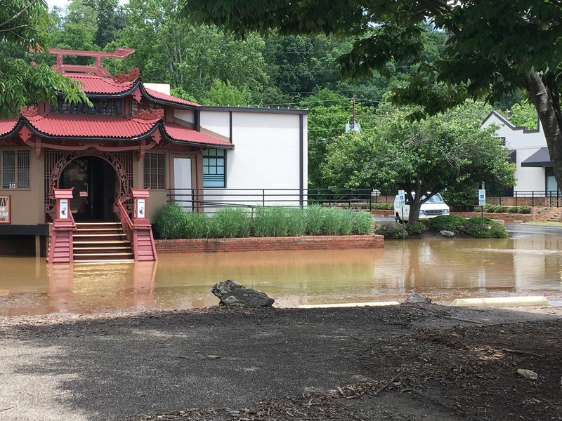 Remnants of the flooding in Biltmore Park