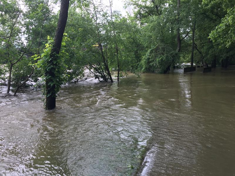 French Broad River Park in Asheville was partially open Thursday afternoon