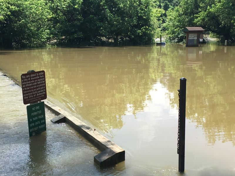 Amboy Riverfront Park in Asheville was closed Thursday afternoon