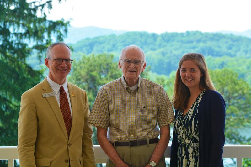 Standing on the balcony of the Lambuth Inn (left to right) Ken Howle, Bill Lowry and Mary Bates