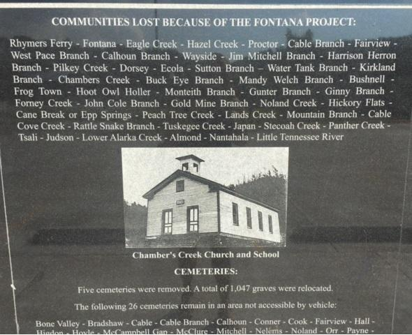 The wall outside the Swain County Courthouse memorializes the communities that were flooded during the construction of Fontana Lake.
