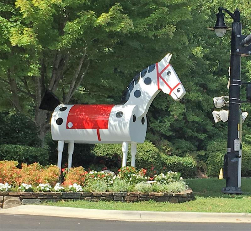 Morris the Horse used to be part of the  annual Tryon Horse Show.  Now the  fifth and final Tryon Horse has a permanent home in the town center.
