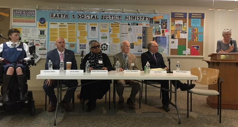 Panelists at the listening session at the Unitarian Universalist Congregation of Asheville. From left to right: Connie Sales, Jacob Willis, Carmen Ramos-Kennedy, Jay Nixon and Karin Rolett.