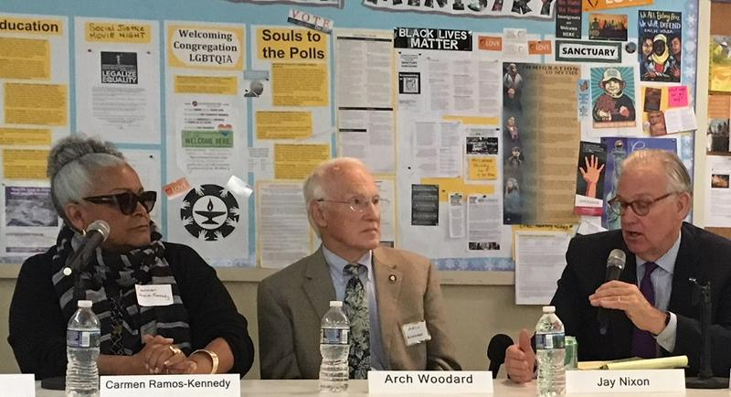 Asheville-Buncombe NAACP President Carmen Ramos-Kennedy, Mitchell County physican Arch Woodard and former Governor Jay Nixon were part of the panel at the listening session.