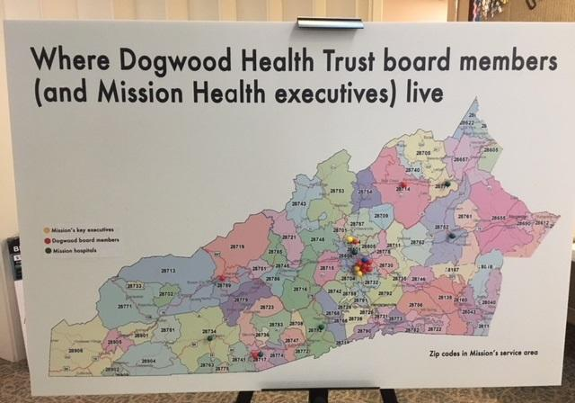 This map made by the SEARCH committee pinpoints the locations of 5 rural hospitals in the Mission Health System compared to where the Dogwood Health Trust Board members live.