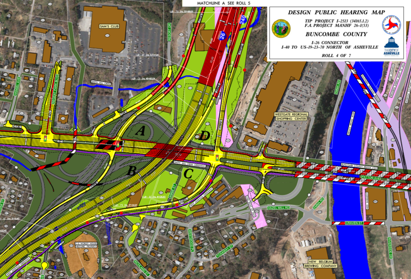 The design map from NC DOT shows the proposed changes to allow through traffic on I-26 to bypass the Bowen Bridge & Patton Avenue in West Asheville