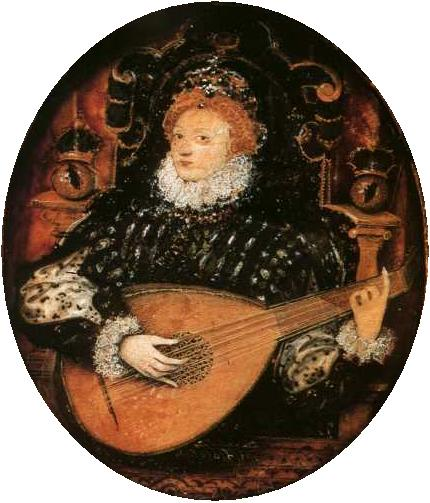 Nicholas Hilliard's portrait of Elizabeth I of England playing the lute, no doubt playing songs based on Shakespeare's poetry.