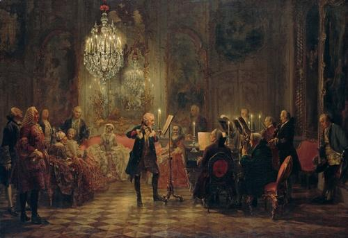 "Flötenkonzert Friedrichs des Großen in Sanssouci (""Flute Concert with Frederick the Great in Sanssouci"") by Adolph von Menzel, 1852. Frederick the Great plays the flute, C. P. E. Bach is at the keyboard."