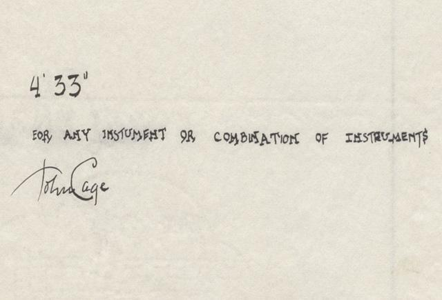 The signature score to John Cage's 4'33""