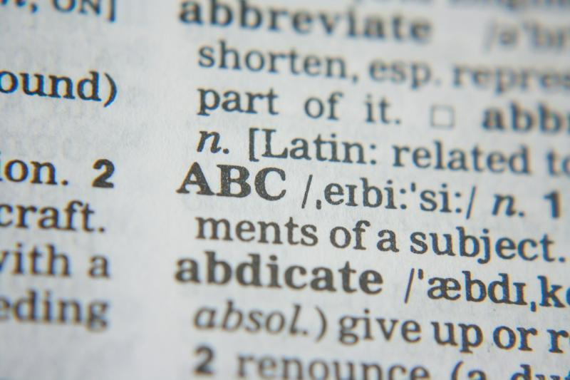 Dictionary text: ABC