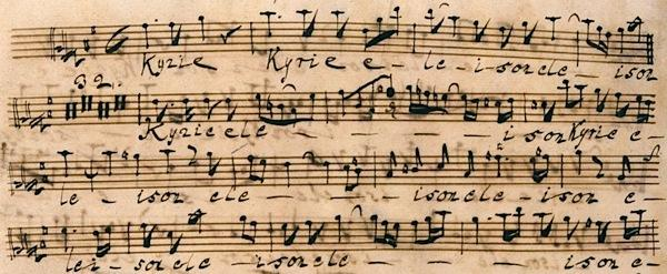 manuscript of the Kyrie of Bach's Mass in B minor