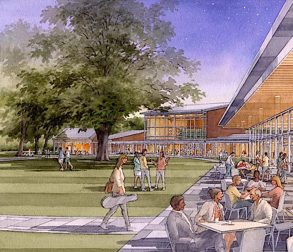artist rendering of new building complex at Tanglewood