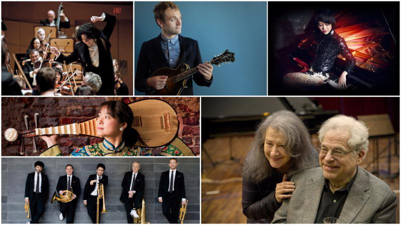 clockwise, from upper left: Gustavo Dudamel, Chris Thile, Yuja Wang, Martha Argerich and Itzhak Perlman, Canadian Brass, Wu Man